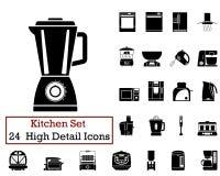 24 ícones da cozinha Fotos de Stock Royalty Free