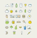 Ícones da cozinha para o restaurante do menu do café Ícones do alimento Imagens de Stock Royalty Free