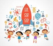 Ícones da criança e da educação ilustração royalty free