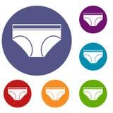 Ícones da cuecas do roupa interior da mulher ajustados Fotos de Stock Royalty Free