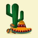 Ícones da cultura de México no estilo liso do projeto, ilustração do vetor Imagens de Stock