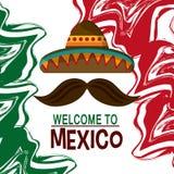 Ícones da cultura de México no estilo liso do projeto, ilustração do vetor Imagem de Stock Royalty Free