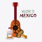 Ícones da cultura de México no estilo liso do projeto, ilustração do vetor Fotos de Stock Royalty Free