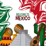 Ícones da cultura de México no estilo liso do projeto, ilustração do vetor Fotos de Stock