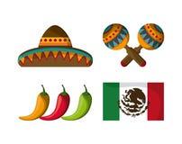 Ícones da cultura de México no estilo liso do projeto, ilustração do vetor Foto de Stock Royalty Free
