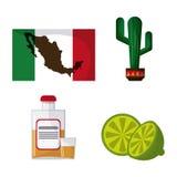 Ícones da cultura de México no estilo liso do projeto, ilustração do vetor Imagem de Stock