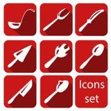 Ícones da cutelaria do vetor ajustados Imagens de Stock Royalty Free