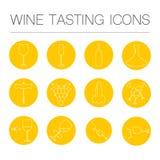 Ícones da degustação de vinhos Fotos de Stock