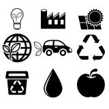 Ícones da ecologia ajustados Foto de Stock Royalty Free