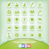 Ícones da ecologia ajustados. Símbolos verdes do ambiente. Fotografia de Stock