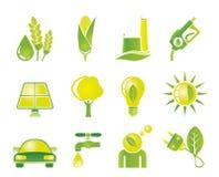 Ícones da ecologia, do ambiente e da natureza Imagem de Stock