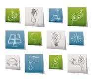 Ícones da ecologia, do ambiente e da natureza Fotos de Stock