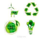 Ícones da ecologia jogo Imagens de Stock