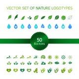 Ícones da ecologia, logotipo da natureza Fotografia de Stock Royalty Free