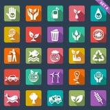 Ícones da ecologia - projeto liso Foto de Stock Royalty Free