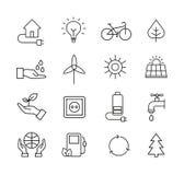 Ícones da ecologia, símbolos naturais orgânicos Imagem de Stock Royalty Free