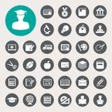 Ícones da educação ajustados. Ilustração Imagens de Stock Royalty Free