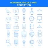 Ícones da educação - bloco azul de 25 ícones de Futuro ilustração do vetor