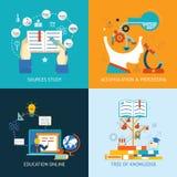 Ícones da educação no estilo liso Imagem de Stock Royalty Free