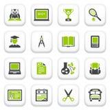 Ícones da educação. Série cinzenta verde. Imagem de Stock Royalty Free