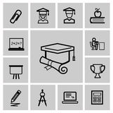 Ícones da educação, sinais, grupo da ilustração do vetor Fotografia de Stock Royalty Free