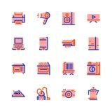 Ícones da eletrônica, aparelhos eletrodomésticos, horizontalmente, rosa com beira azul e alaranjada ilustração stock