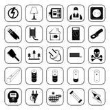 Ícones da eletricidade ajustados para a Web e o móbil Fotos de Stock Royalty Free