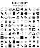 Ícones da eletricidade ajustados para a Web e o móbil Imagens de Stock Royalty Free