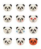 Ícones da emoção do urso de panda Fotos de Stock Royalty Free
