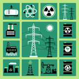 Ícones da energia Fotos de Stock Royalty Free