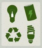 Ícones da energia de Eco Fotografia de Stock Royalty Free