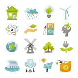 Ícones da energia de Eco lisos Fotos de Stock Royalty Free