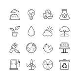 Ícones da energia de Eco - Vector a ilustração, linha ícones ajustados ilustração do vetor