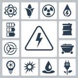 Ícones da energia do vetor ajustados Fotografia de Stock Royalty Free
