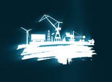 Ícones da energia e do poder ajustados Curso da escova Imagens de Stock