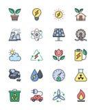 Ícones da energia e do poder de Eco, grupo de cor - Vector a ilustração Foto de Stock