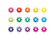 Ícones da engrenagem do espectro do arco-íris Foto de Stock