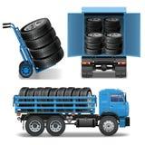 Ícones da entrega do pneu do vetor Fotografia de Stock