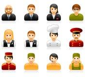 Ícones da equipe de funcionários do hotel e do restaurante Imagens de Stock