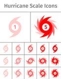 Ícones da escala do furacão Fotografia de Stock