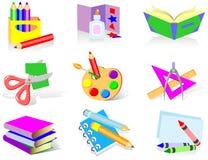 Ícones da escola ilustração royalty free