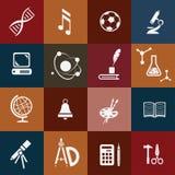 ícones da escola ajustados Fotografia de Stock