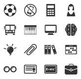 ícones da escola ajustados Imagens de Stock Royalty Free