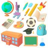 Ícones da escola ajustados no estilo dos desenhos animados Fotos de Stock Royalty Free