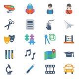 Ícones da escola e da educação ilustração stock