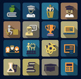 Ícones da escola e da educação da cor ajustados Fotografia de Stock Royalty Free