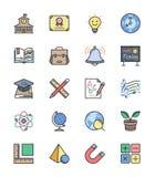 Ícones da escola e da educação, grupo de cor 1 - Vector a ilustração Fotos de Stock Royalty Free