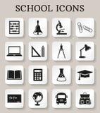 Ícones da escola e da instrução Grupo do vetor Imagens de Stock Royalty Free
