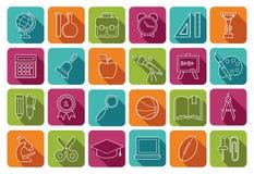 Ícones da escola em botões coloridos ilustração do vetor