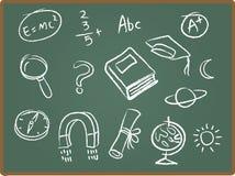 Ícones da escola no quadro ilustração stock